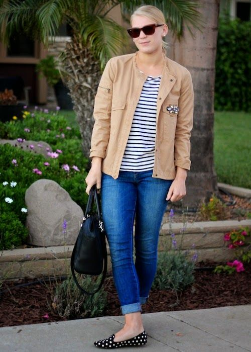 Pattern mixing for a fall look #stripes
