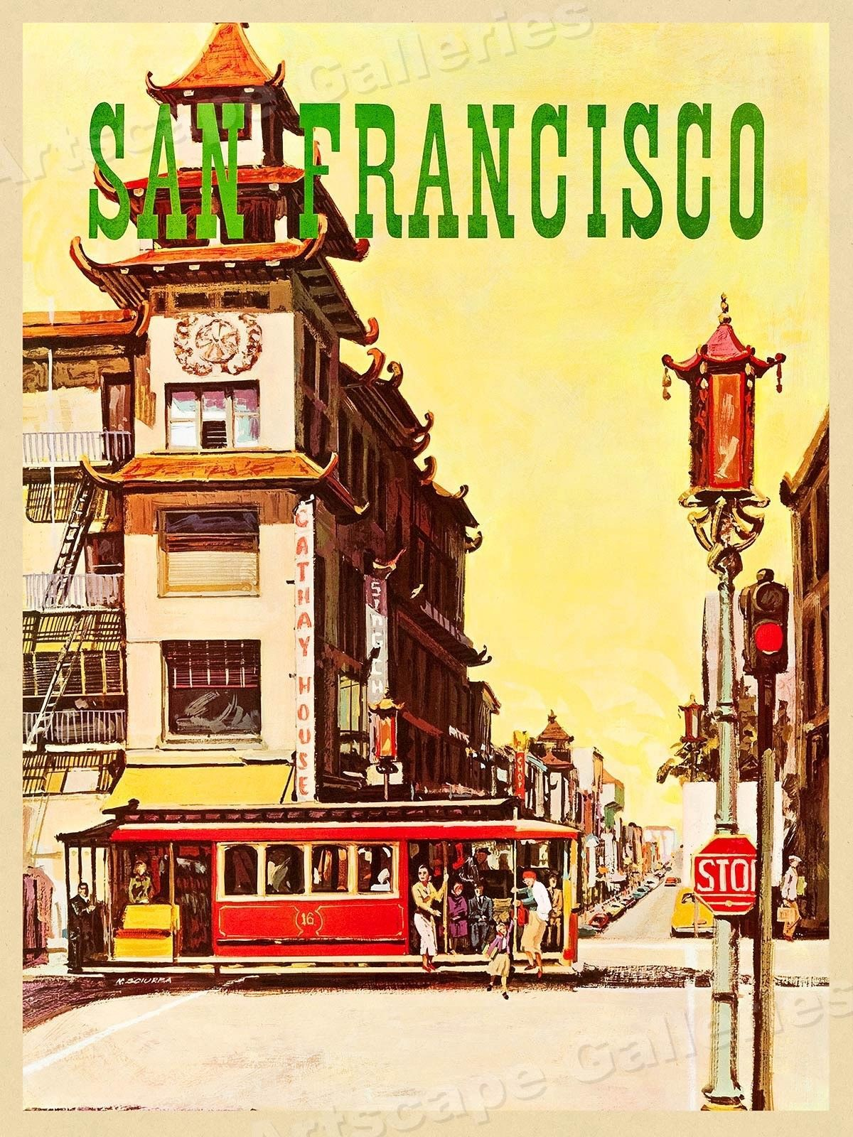 1960/'s San Francisco China Town Vintage Travel Poster 18x24
