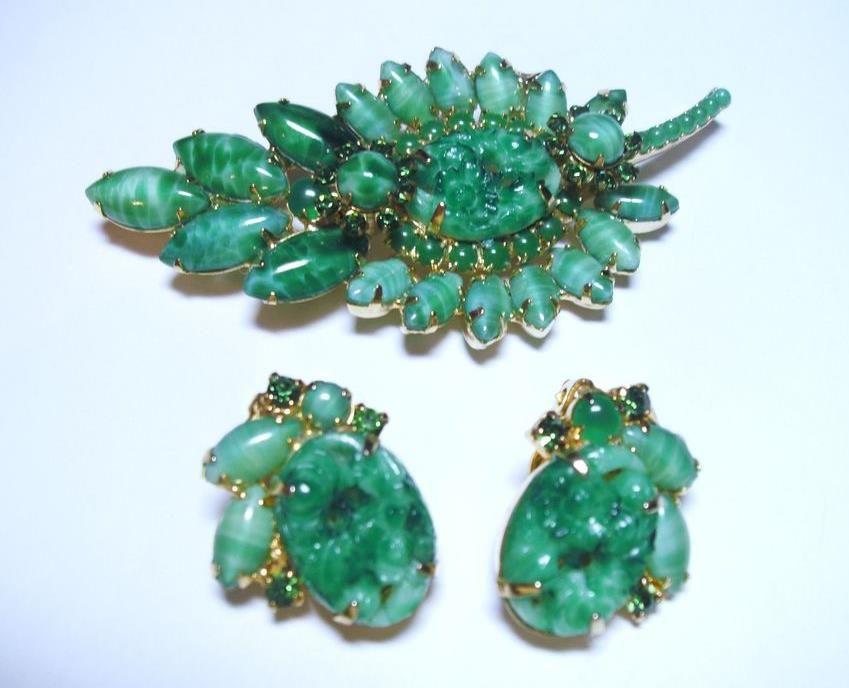 Green art glass brooch and earring set.