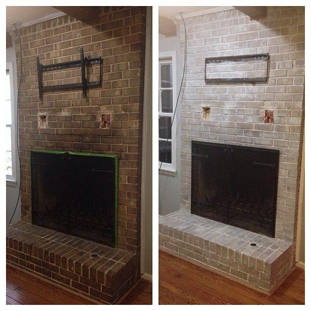 Weekend Project Whitewashed Fireplace White Wash Brick