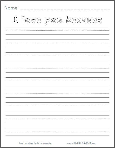 I love you because... Valentine\'s Day writing prompt for grades K ...