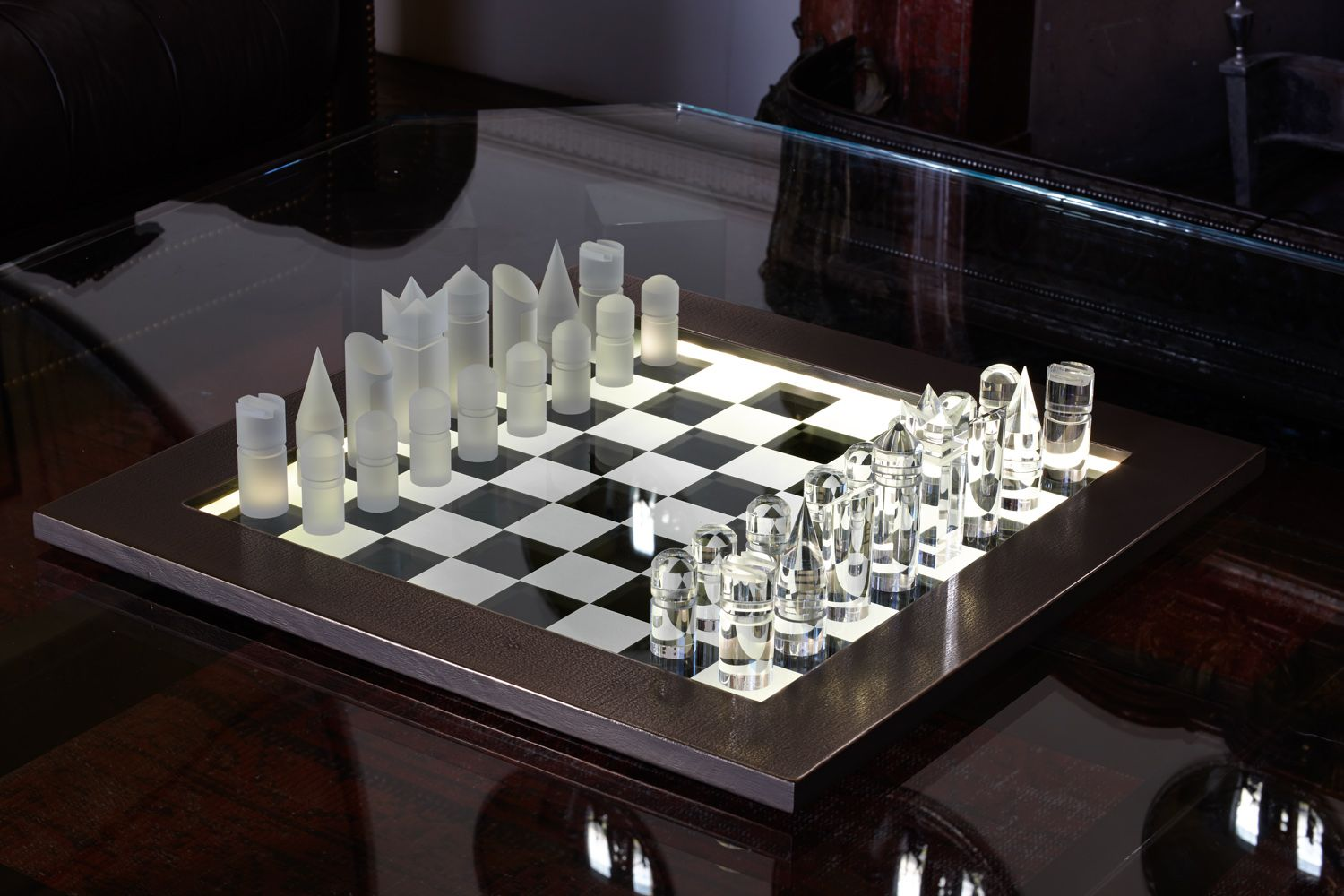 Modern Chess Table Bronze Framed Illuminated Chess Set With Frosted And Polished