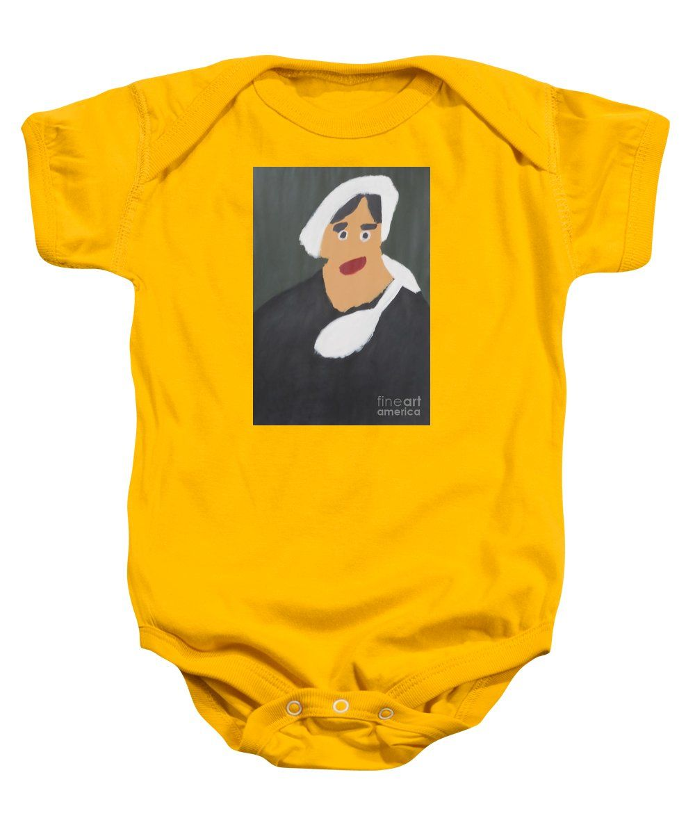 Patrick Francis Gold Designer Baby Onesies featuring the painting Portrait Of A Woman With White Cap 2015 - After Vincent Van Gogh by Patrick Francis