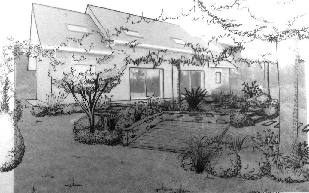 Croquis sur photos. Etude de projet d'aménagement paysager - Ingrandes sur Loire - 49