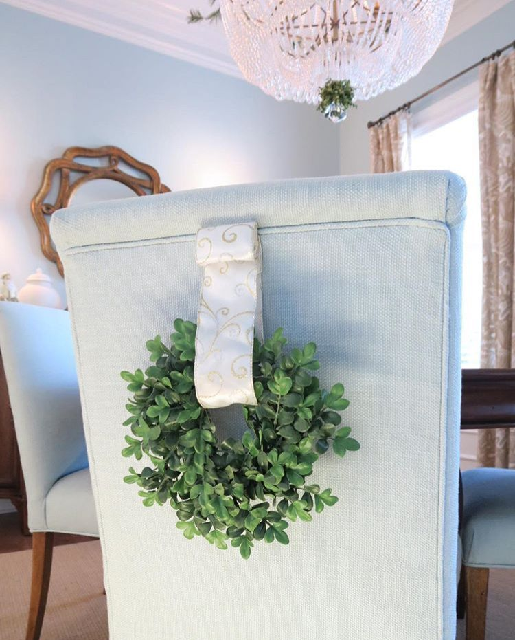 Small Boxwood Wreath On Back Of Dining Room Chair Small Boxwood Wreath Family Room Chair Ladder Decor