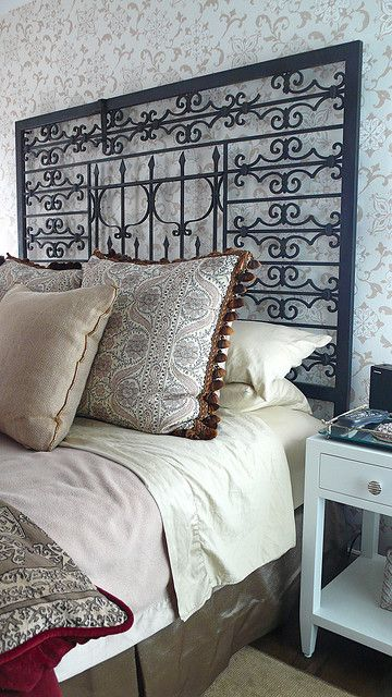 Repurposed Metal Gate Into A Headboard Froy S Guest Bedroom
