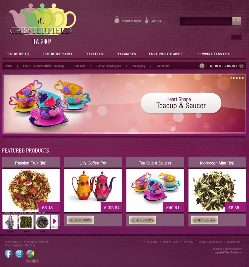 The Chesterfield Tea Shop Portfolio Web Design Tea Packaging Tea Shop