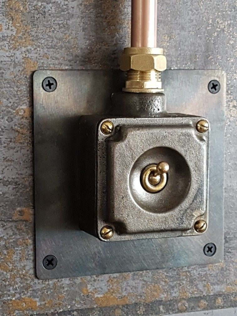 Reclaimed industrial light switch mounted onto 16 gauge steel plate ...