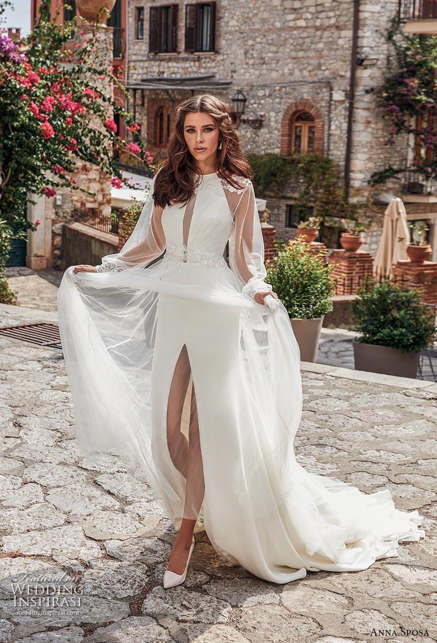 4879fd31974a anna sposa 2019 bridal long bishop sleeves illusion jewel halter neck  simple slit skirt sheath wedding dress a line overskirt keyhole bodice  chapel train ...