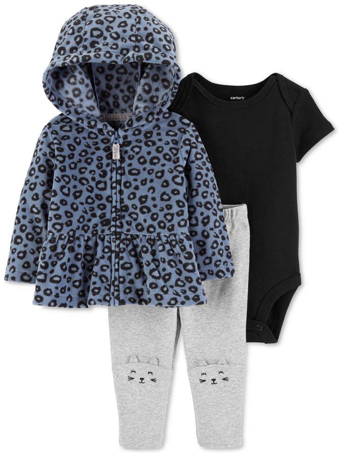 6dc6f832f3 Carter s Baby Girls 3-Pc. Fleece Peplum Hoodie
