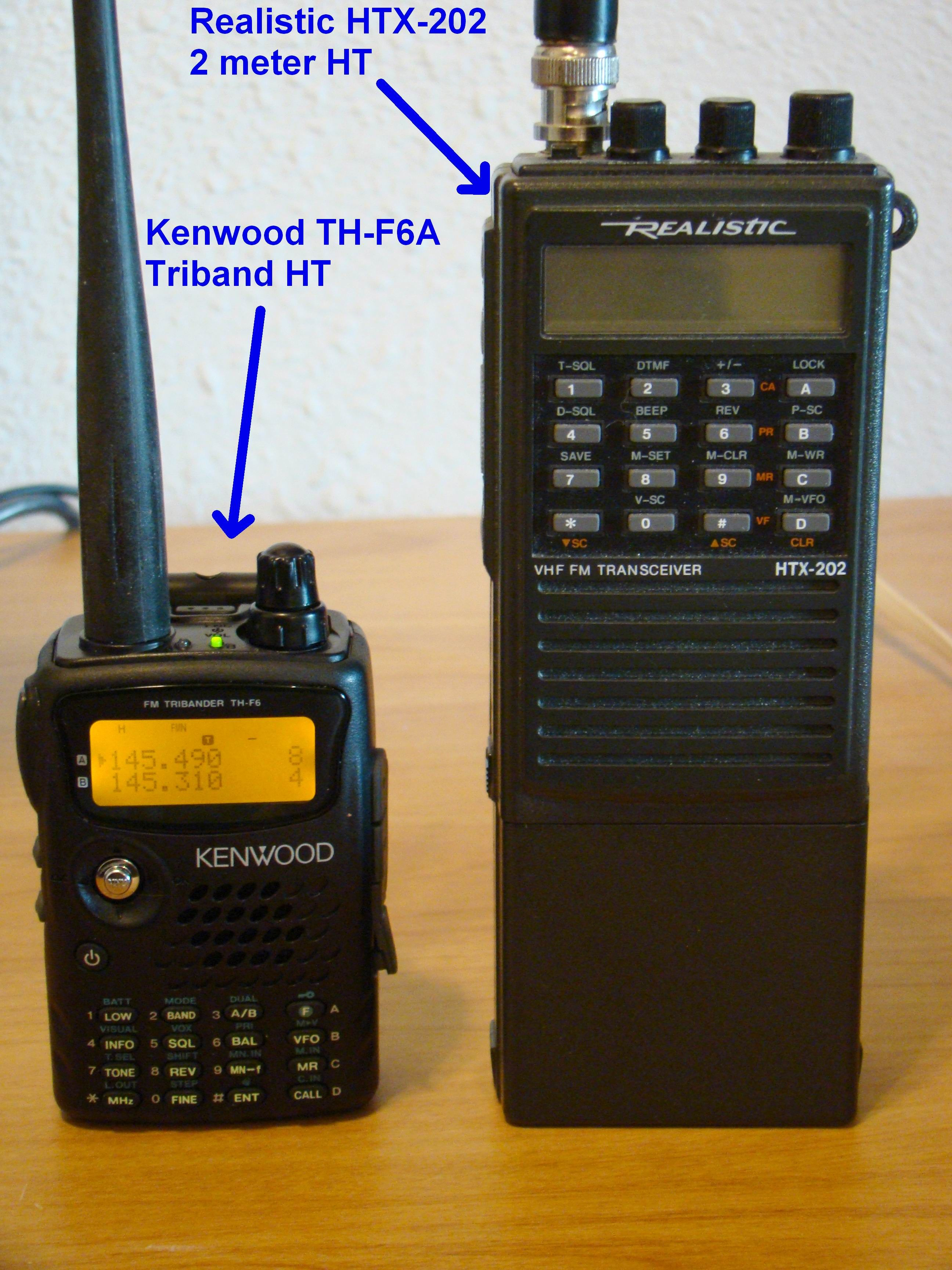 Kenwood TH-F6A Triband Ham Radio HT Size Comparsion To An