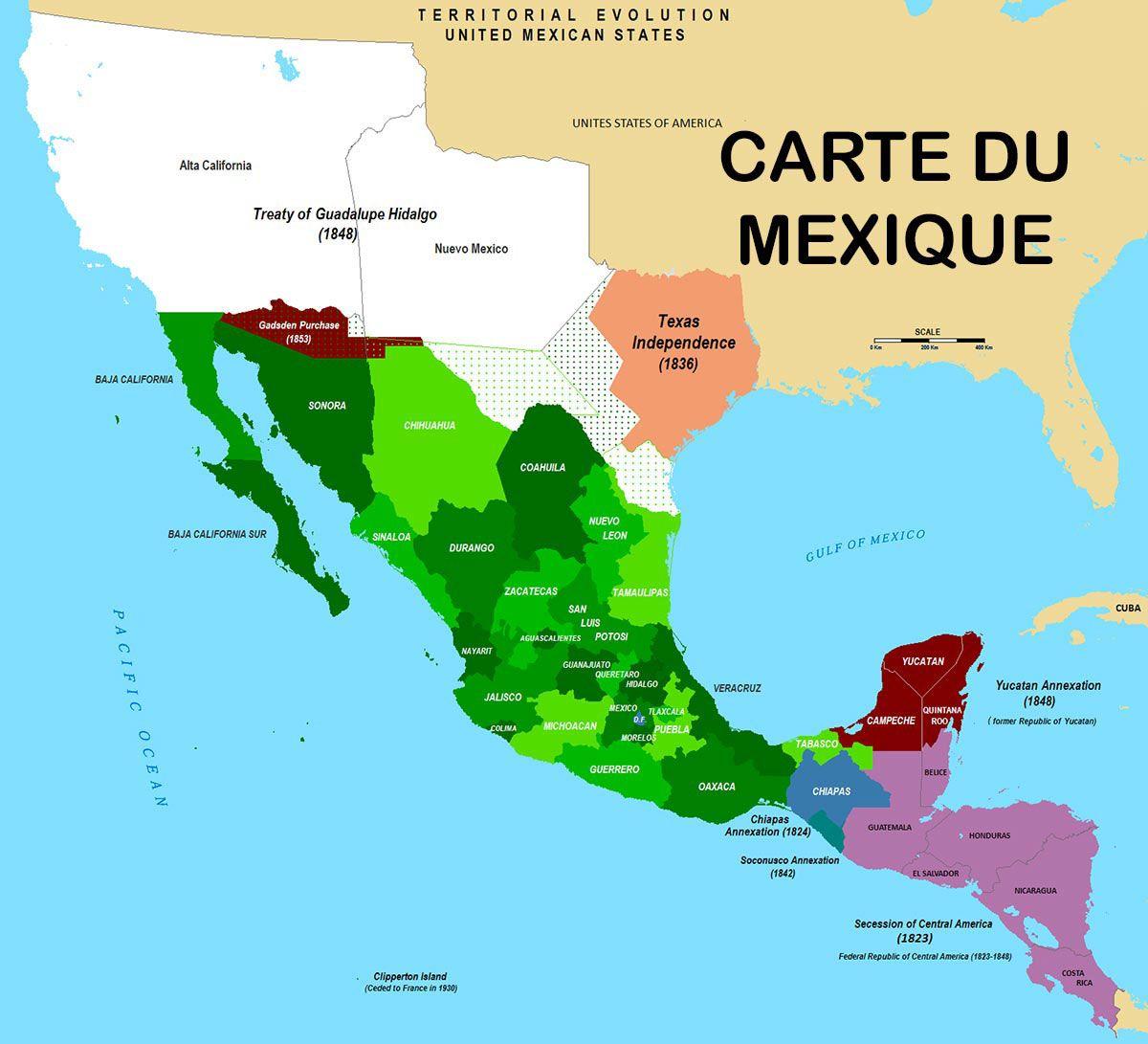 carte mexique plan geographique