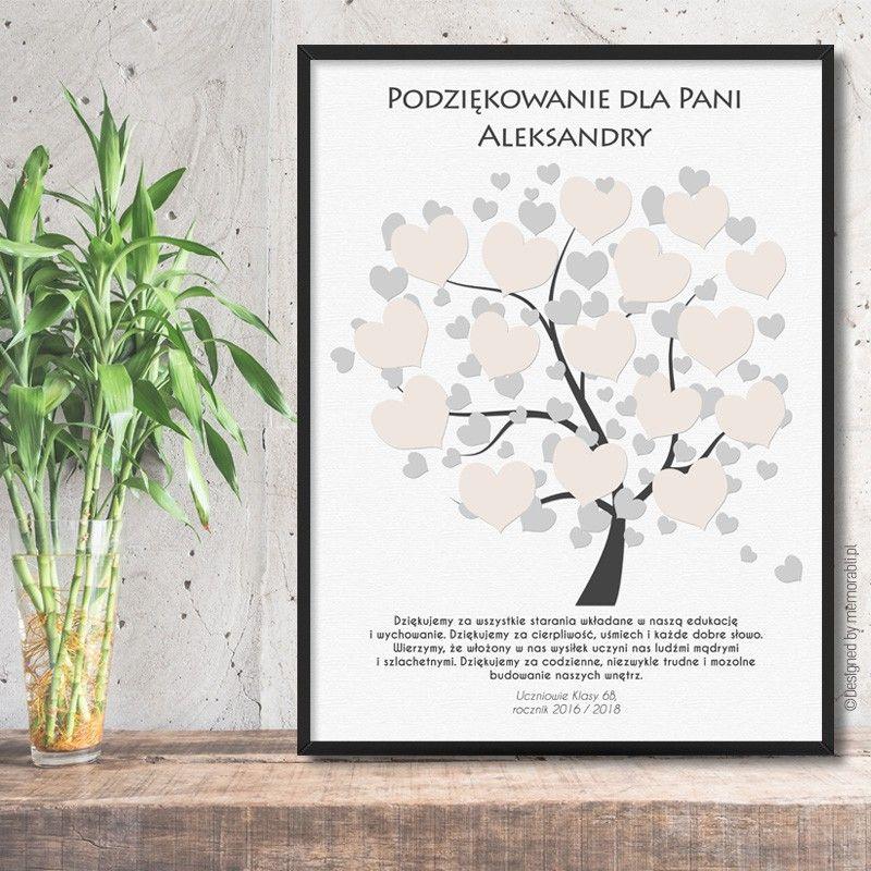 Drzewo Z Serduszkami Na Podpis Bezowe Plakat Dla Nauczyciela Frame Book Cover Art