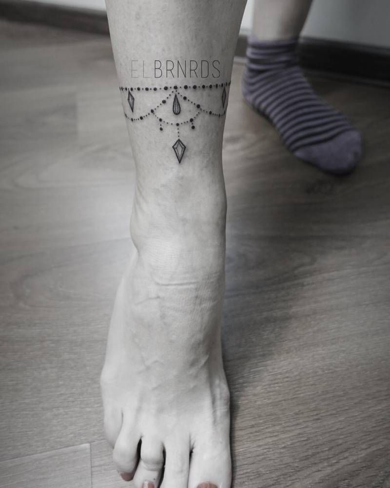 Fine Line Style Ankle Band Tattoo