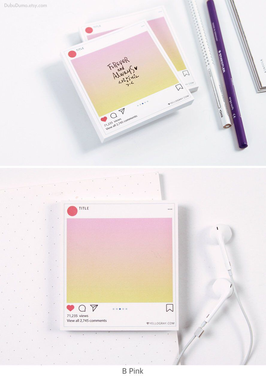 Instagram Notepad 4types Pastel Memo Pad Stationery