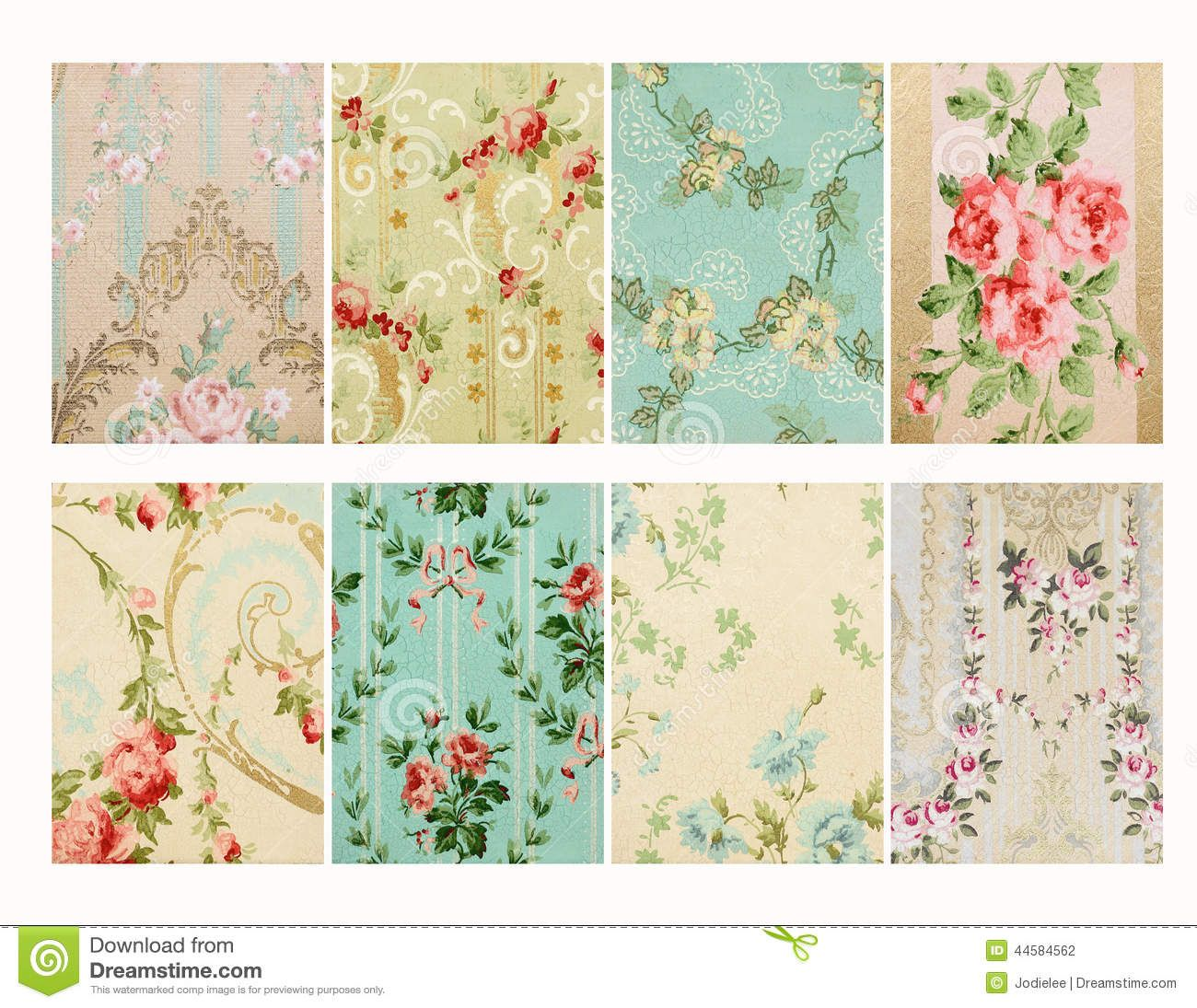 French Floral Wallpaper Stock Photo Set Of Vintage French