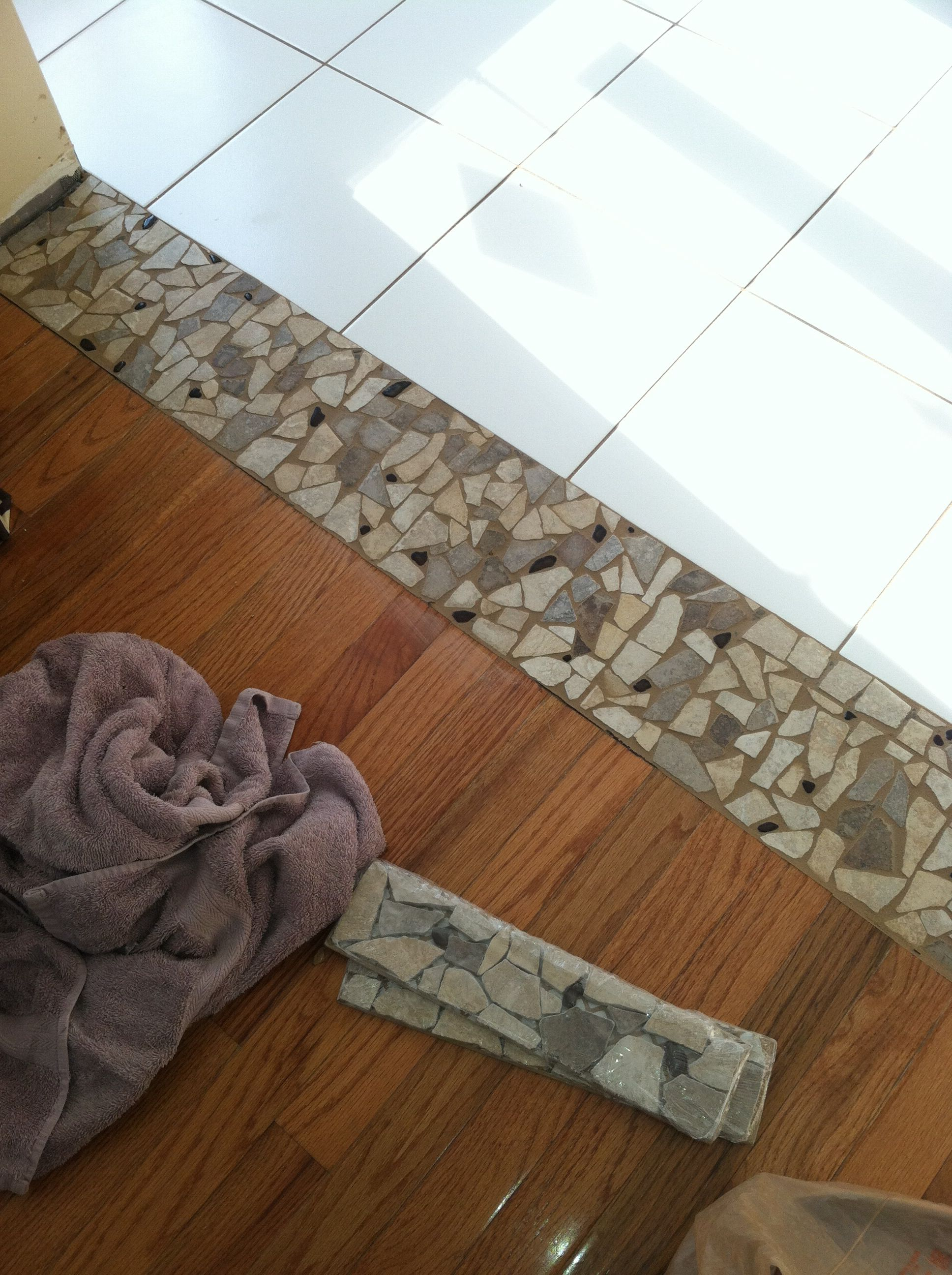 Stone Threshold Between Tile And Wood Transition Flooring Wood