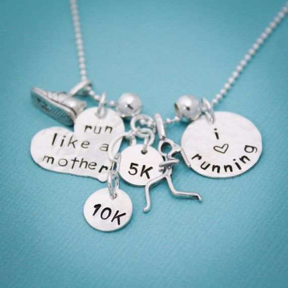 One TINY 5K sterling silver running charm Running Jewelry