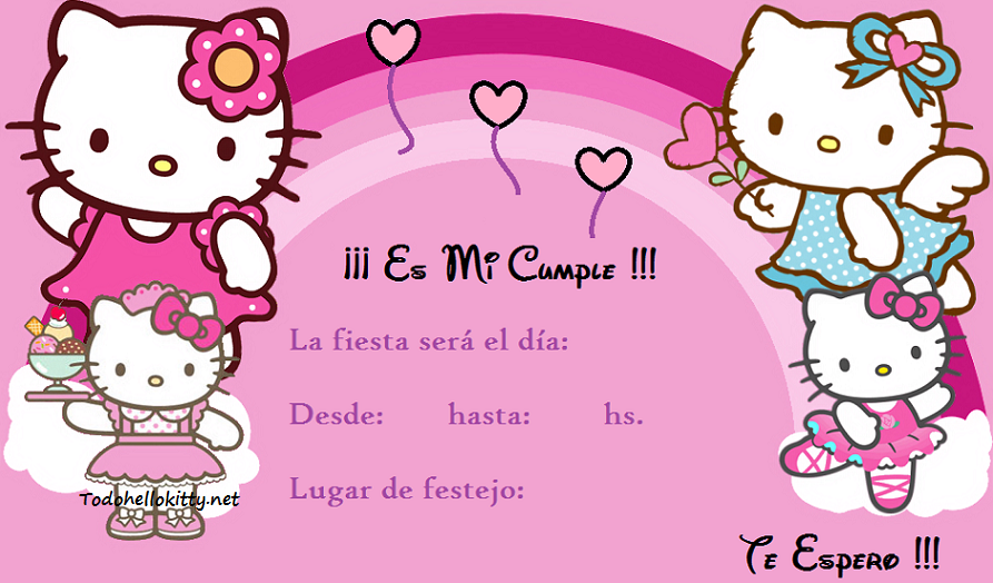 Invitacion 3 Invitation Cards Invitations Hello Kitty