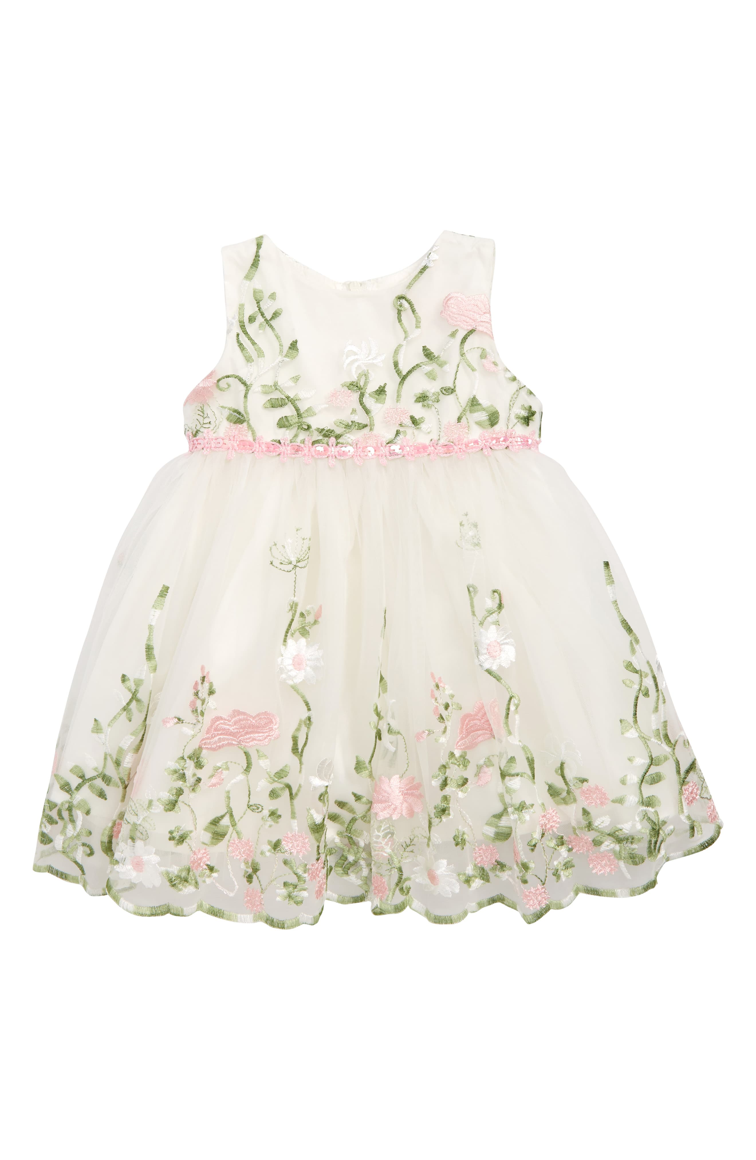 6c2ca6a11 Infant Girl's Popatu Floral Embroidered Tulle Fit & Flare Dress, Size 9M -  White