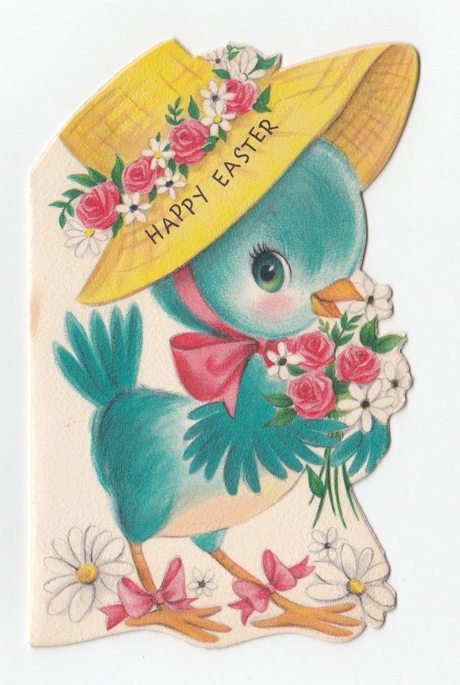 Vintage Greeting Card Easter Blue Bird Wearing Hat Bonnet Hallmark – Hallmark Easter Cards