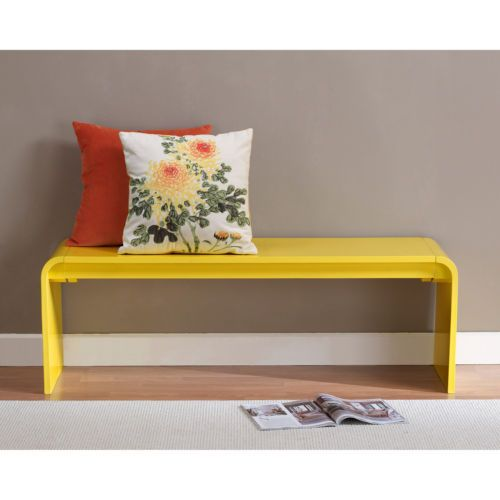 30 Eye Catching Entryway Benches For Your Home: Contemporary Lemon Yellow Wood Bench