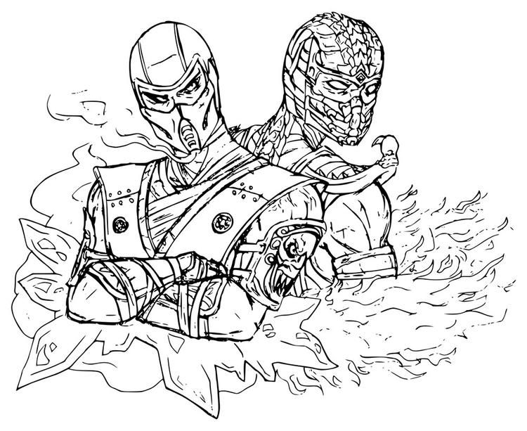 Mortal Kombat Coloring Pages Sub Zero And Scorpion Cartoon