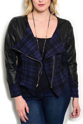 Plus Size Pleather Plaid Zip Up Motor Jacket