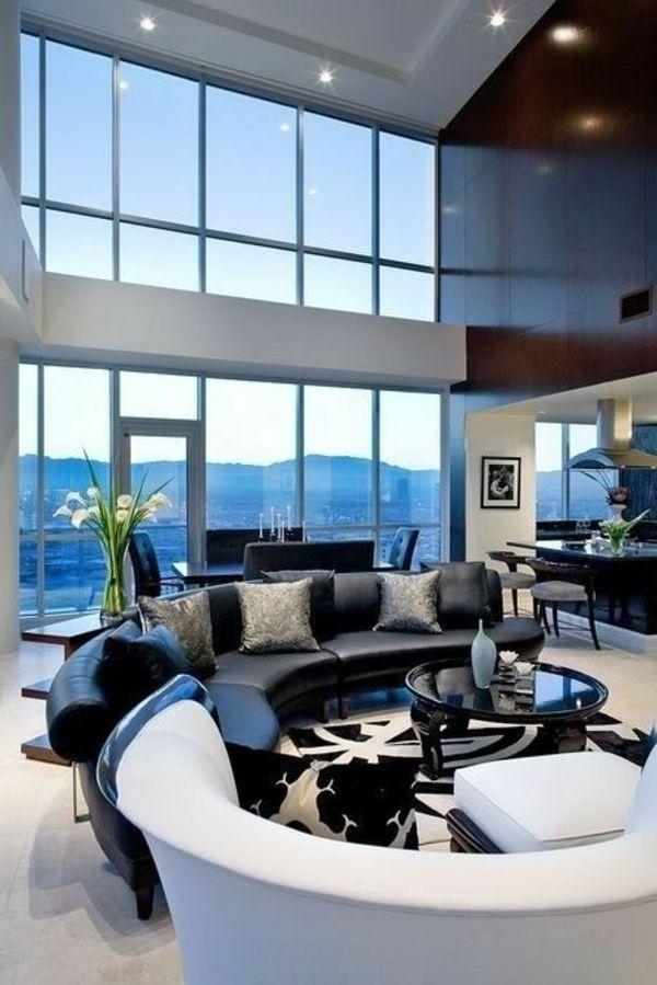 halbrunde modulare Sofas in Weiß und Schwarz ...