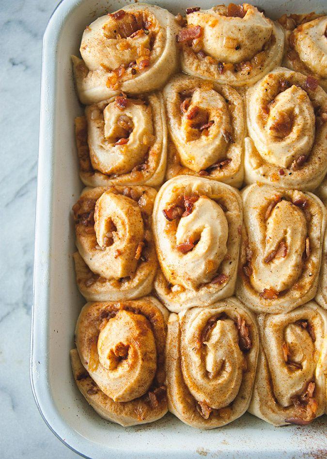Yummy bacon onion rolls for breakfast