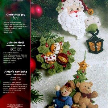 5x5 Set Of 12 Partridge In A Pear Tree Ornaments Felt Applique Kit
