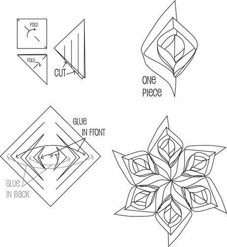 template 3d paper snowflake patterns  5D Paper Snowflake Patterns | Tools: Square paper (you can ...