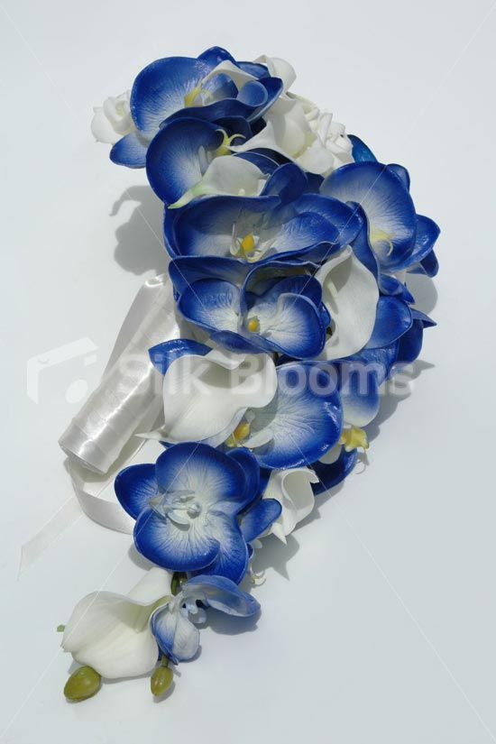 Royal Blue Orchid Ivory Calla Lily & Rose Cascading Bouquet