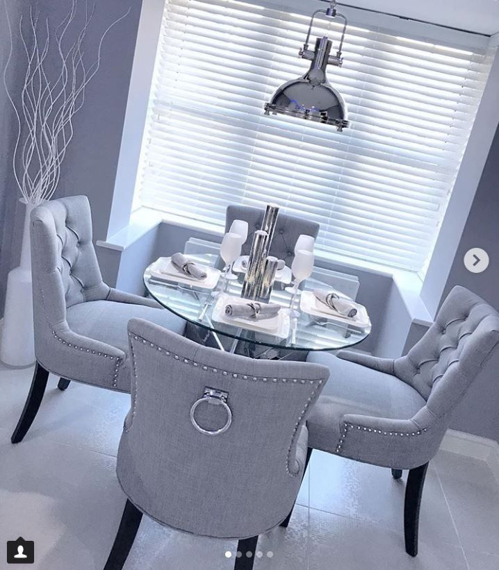 Scoop Back Dining Chair In Grey Linen With Chrome Knocker Black Legs Grey Dining Room Chairs Dinning Room Chairs Gray Dining Chairs