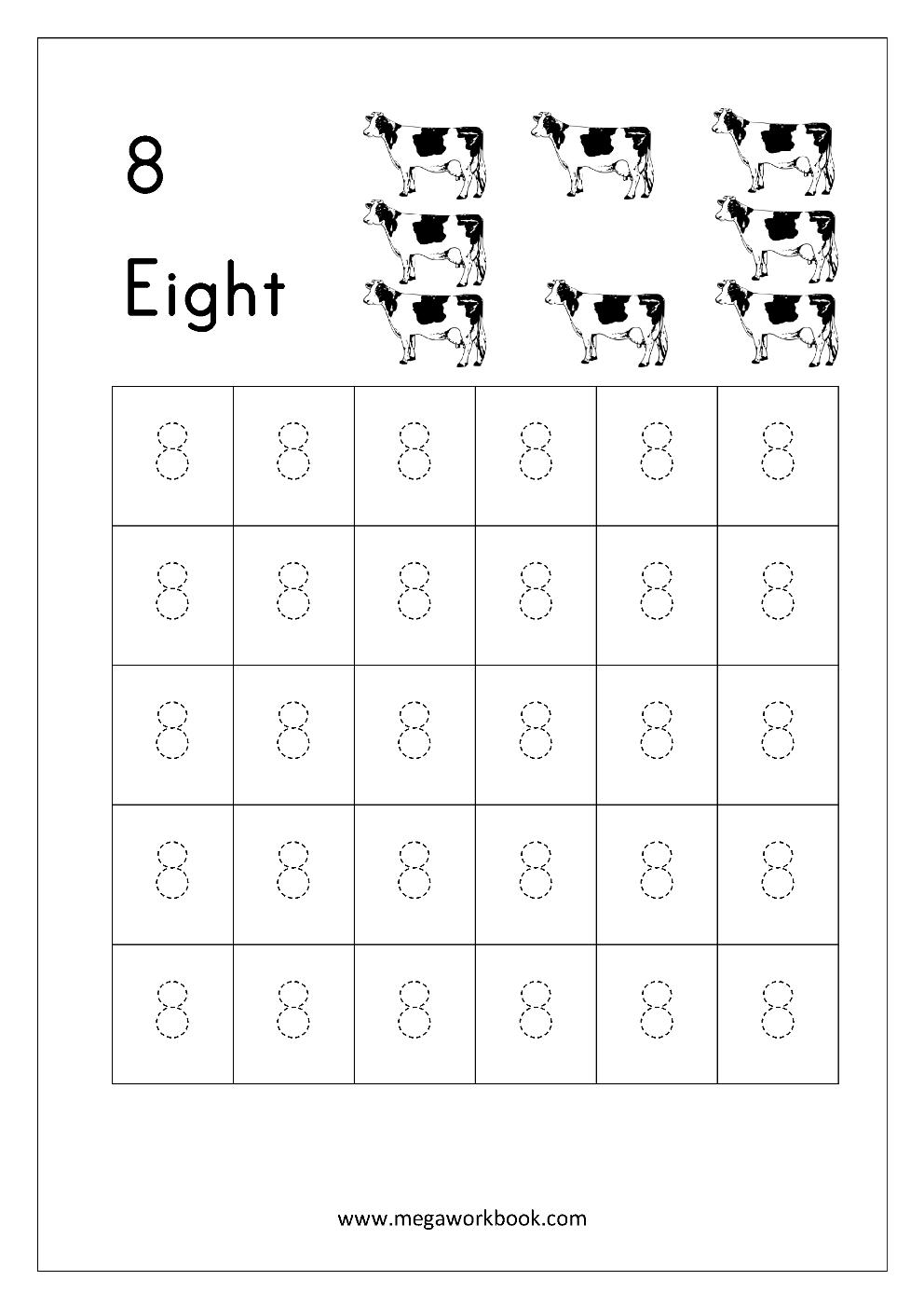 Math Worksheet - Trace Number Eight (8) | 8 sayısı | Pinterest ...