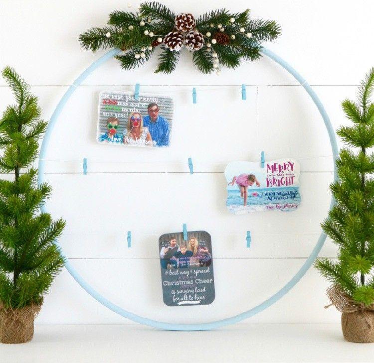 wanddeko winter weihnachten weihnachtskarten fotorahmen hula hoop ...