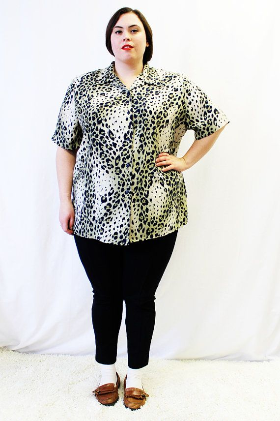 Plus Size - Vintage Animal Print Button Front Blouse by TheCurvyElle, $20.00