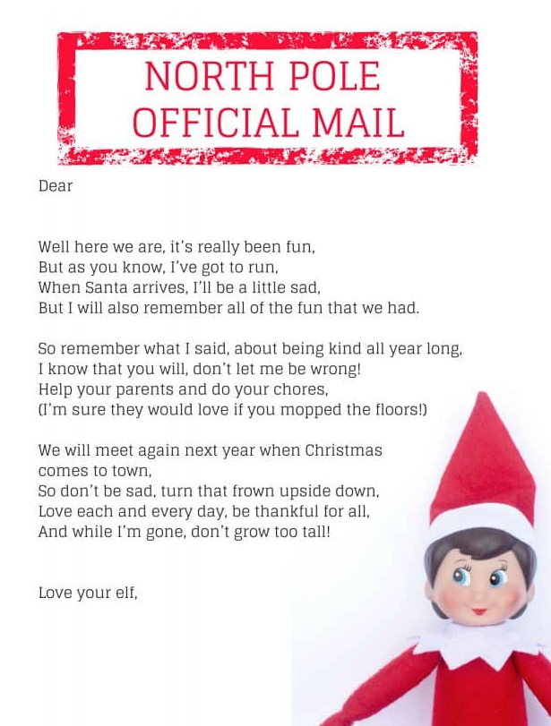 free elf on the shelf letters
