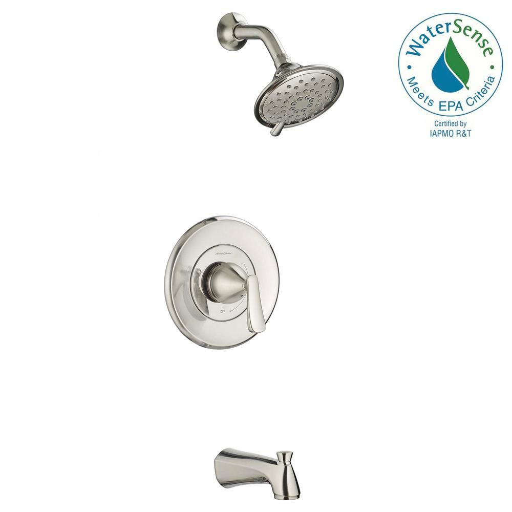 American Standard Chatfield Single Handle 3 Spray Tub And Shower Faucet With 1 8 Gpm In Brushed Nickel Valve Included 7413508 295 Tub And Shower Faucets Shower Tub Shower Faucet