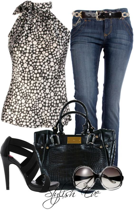 jeansoutfit mit schwarz wei kombi kerstin tomancok. Black Bedroom Furniture Sets. Home Design Ideas
