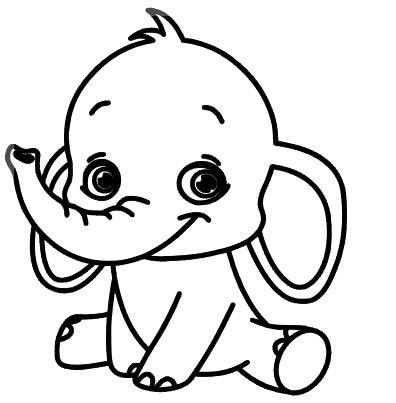 baby elephant elephant coloring page