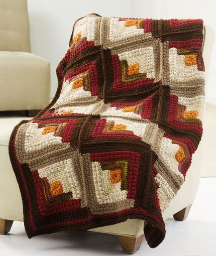 Log Cabin Comfort Throw: free #crochet #blanket #pattern | Crochet ...