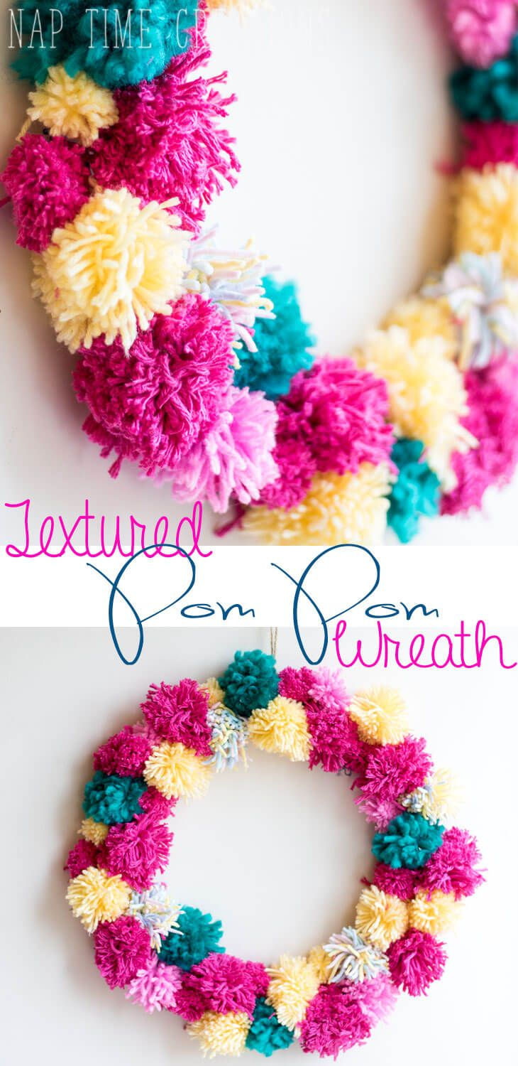 Spring pom pom wreath easy diy with yarn from naptime creations