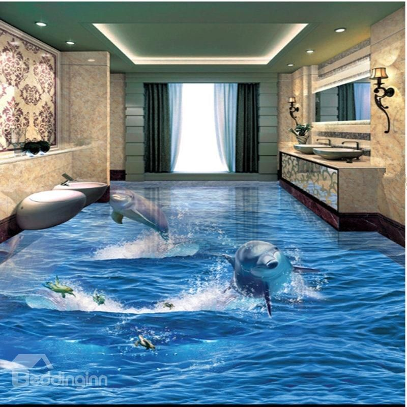 Incredible Design Jumping Dolphins and Turtles Decorative