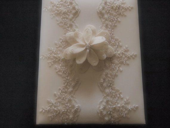Wedding Memory Album Ivory Lace gerbera daisy choose custom colors  by ArtisanFeltStudio on Etsy, $48.00