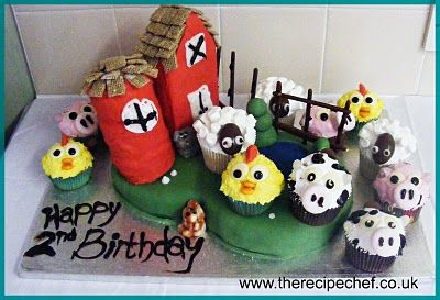 Amazing Farm Birthday Cupcake Cake!