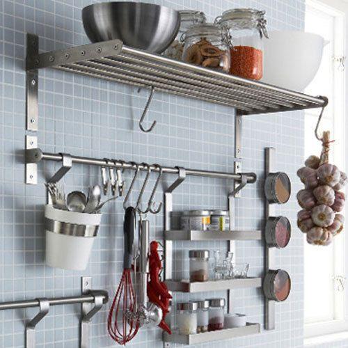 Kitchen Shelf Rail Spice Jar Rack Hook New Ikea Grundtal Set