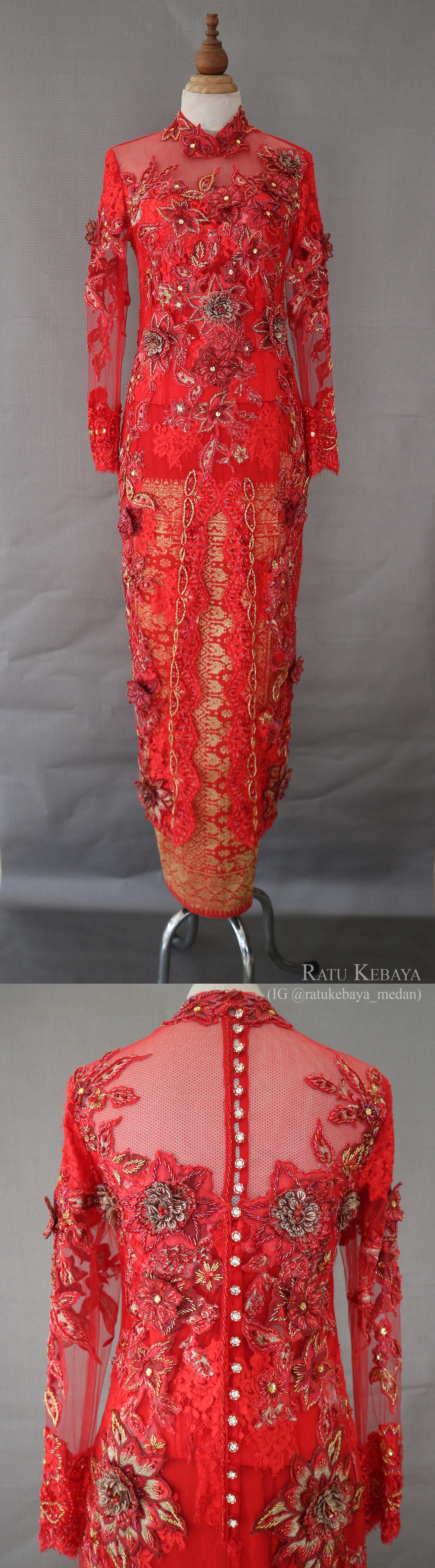 Kebaya Merah Dengan Aplikasi Bunga 3d Ig Ratukebaya Medan Kebaya Baju Kurung Merah