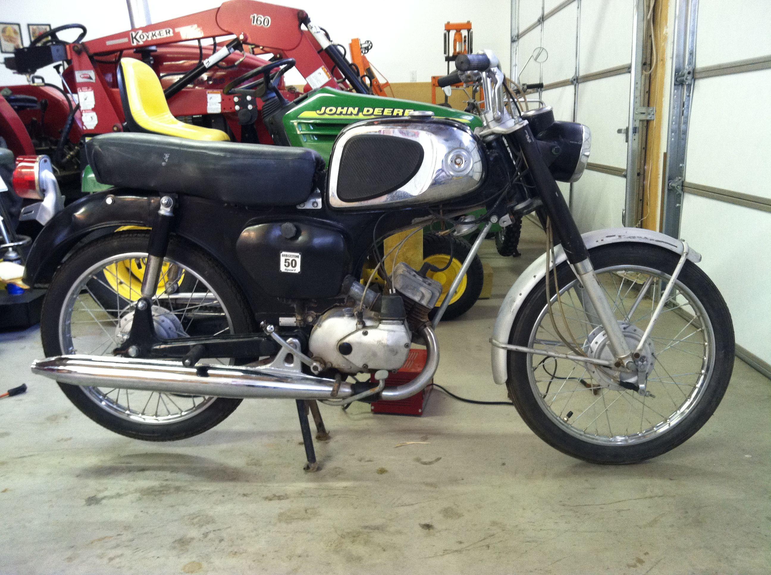 1966 Bridgestone Sport 50 w/ Honda C110 tank temporarily