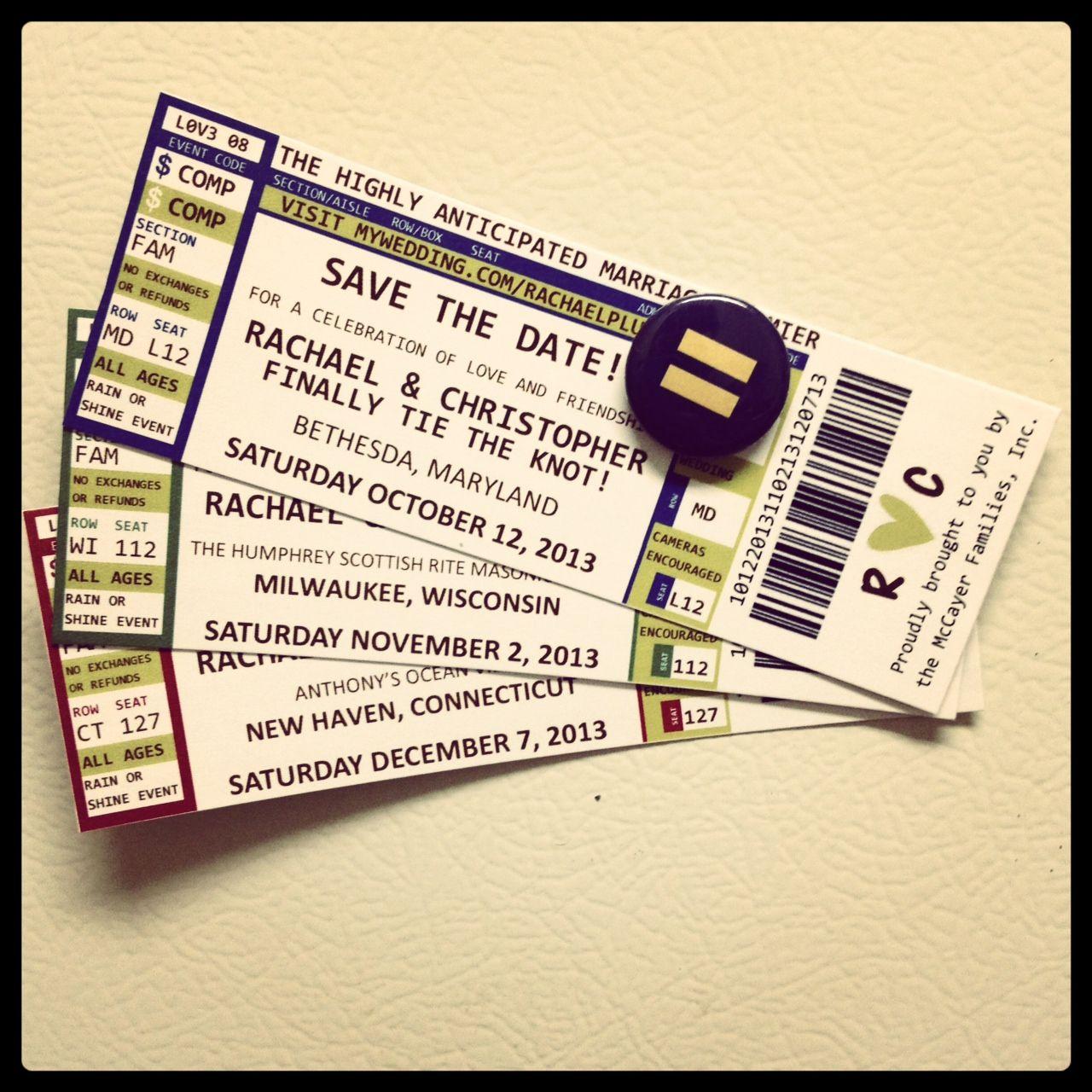 Diy save the date concert tickets wedding diy